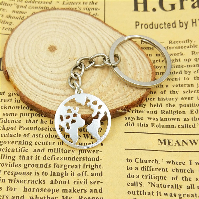 drop shipping World Map keychain women bag car Key ring Geometric pendant  Hollow global map jewelery gifts gold silver color 840032459b