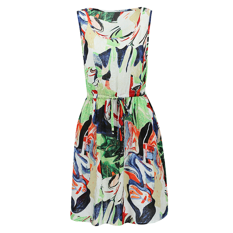 US $8.6 33% OFF|5XL Plus Size Dress Fashion Loose Graffiti Print Midi Dress  O Neck Drawstring Waist Sleeveless Pocket Casual Summer Dress 2019-in ...