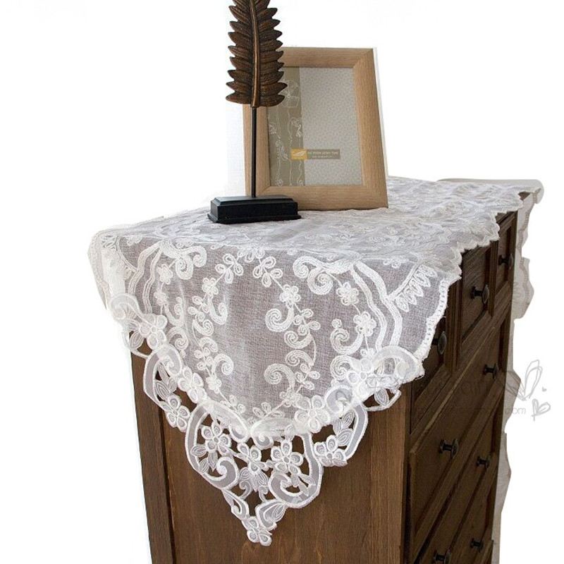 White Hollow Embroidered Floral Linen Yarn Table Runner ...