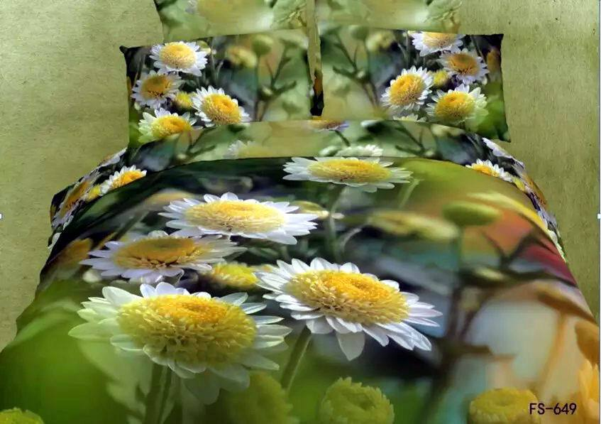 3d green daisy flower floral bedding set queen size quilt duvet covers bed fashion sheets bedspreads