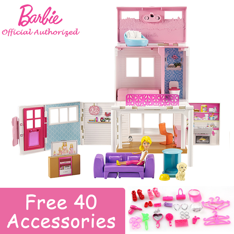 Barbie Dolls Series Sweet Holiday Soft Vacation Big Dreams House Multi-Function Toy Barbie Boneca Mode DWJ98 For Gift barbie originais hair feature doll house coloring activity american girl dolls barbie dolls brinquedos boneca children gift fbh6