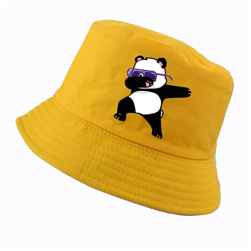 7bf1965e3fd New Cartoon panda Funny bucket hat Fashion men women cotton k pop panama  fisherman hats lovely outdoor hunting fishing cap bone -in Men s Bucket Hats  from ...