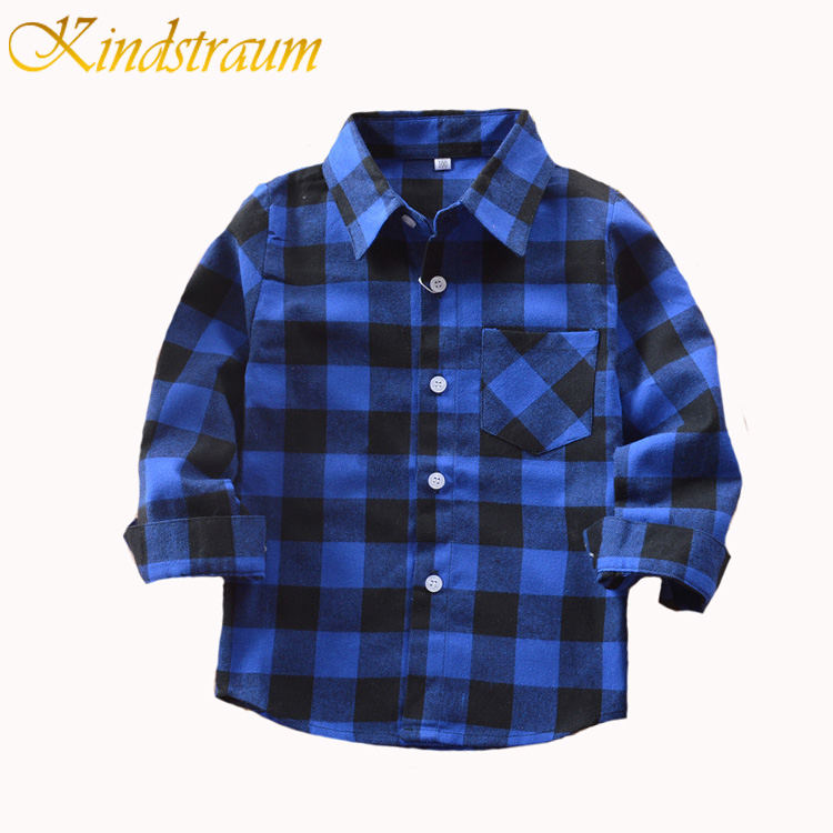 Kindstraum Boys Shirt för Kids Bomull 2017 Fashion New Boys Plaid Shirts Långärmad England School Trend Barnkläder, MC568