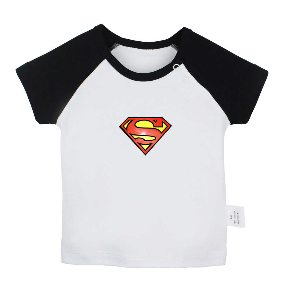 Popular Superman Symbol Superhero words BAM Hero ZAP Newborn Baby T-shirts Toddler Graphic Raglan Color Short Sleeve Tee Tops