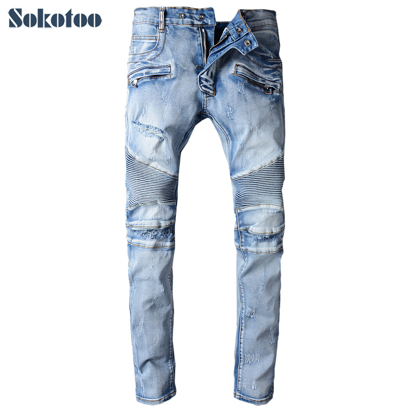 Sokotoo Men's light blue holes ripped biker jeans for moto Casual pleated slim stretch denim pants Long trousers sokotoo men s casual vintage light blue hole ripped biker jeans male fashion slim denim pants straight long trousers