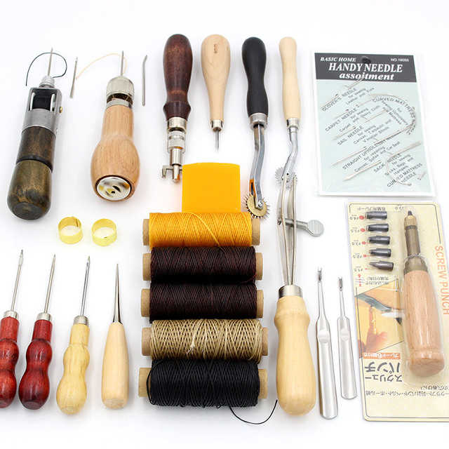 Leathercraft Tool Set Hand Needlework Stitching with Wax Thread Leather Needle Awl Punch Tools for DIY Sewing Leather Enthusiast