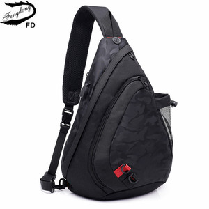 Image 2 - Fengdong עמיד למים בד זכר crossbody תיק קטן שחור הסוואה קלע חזה תיק כתף אחת שקיות לנשים bagpack daypack
