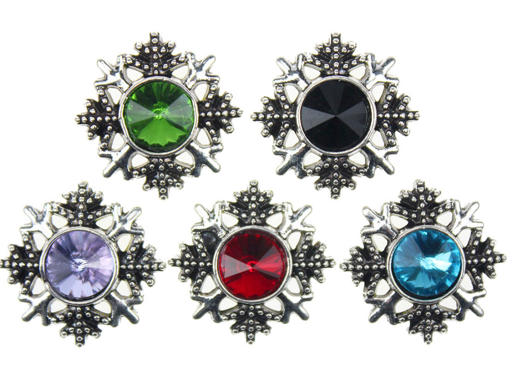 10pcslot Snap Button Jewelry Newest DIY 18mm Mixcolour Snowflake Snap Button Fit Charm leather alloy fashion Bracelet jewelery