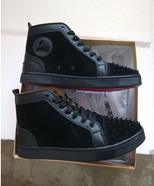 f6b40eee4f4a france Luxury brand men Red bottom spikes suede black Leather high Top shoes