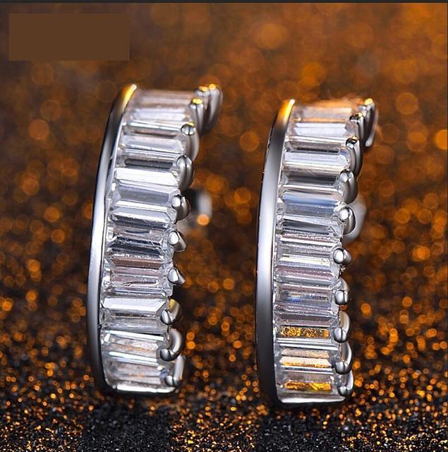 Геометрическая мода женский стиль резки Австрия AAA циркон Стерлингового Серебра 100% Серьги гипоаллергенный ясно коллокации