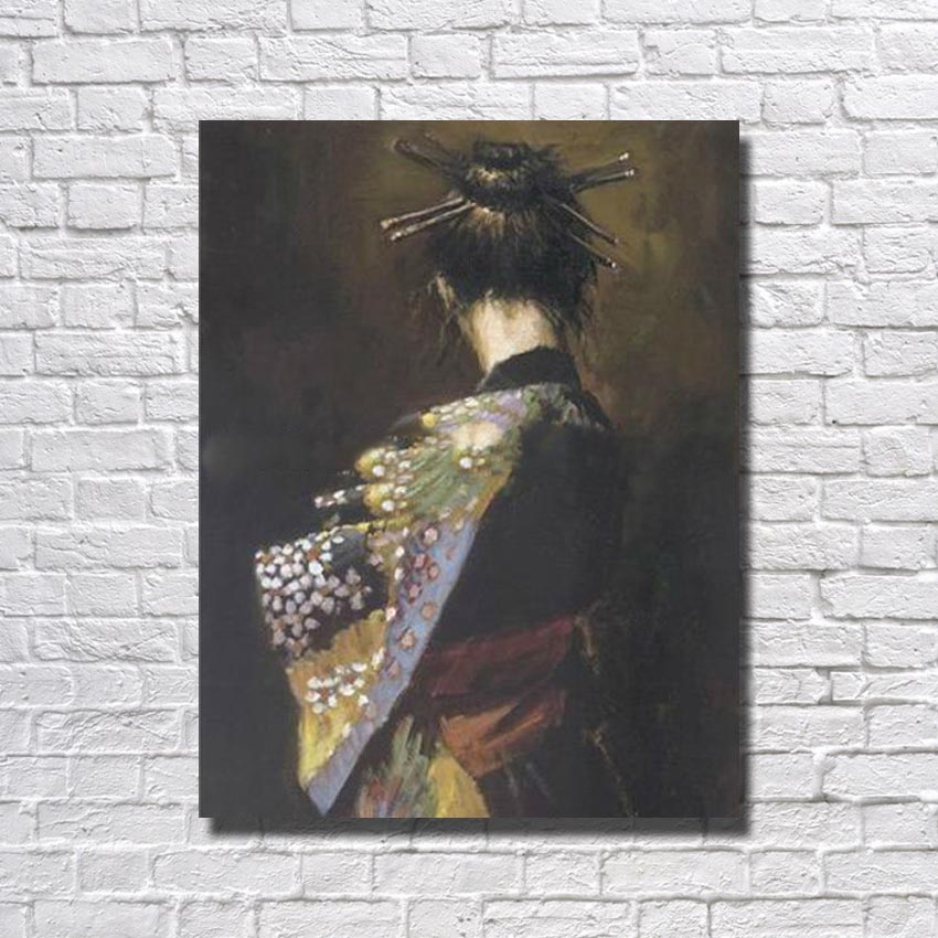 Kimono dressing japanese <font><b>girl</b></font> 16 <font><b>hot</b></font> <font><b>sexy</b></font> tube <font><b>18</b></font> large size wholesale canvas oil painting hand paint image