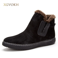 Men Ankle Boots Genuine Leather Fashion Classic Comfortable Warm Winter Zip Footwear XGVOKH Mens Shoes Black