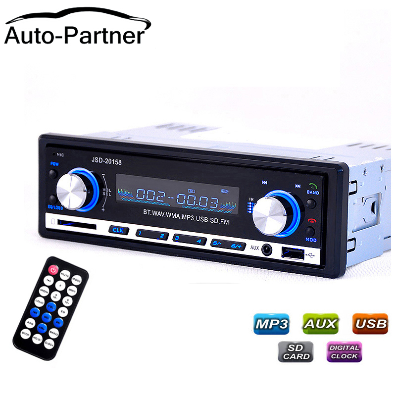 Rádio do carro Bluetooth V2.0 Autoradio JSD 20158 Car Stereo Audio In-traço Receptor FM Receptor de Entrada USB MP3 MMC WMA Rádio