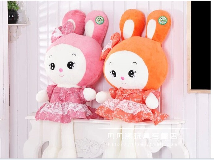 Stuffed animal 70 cm lovely rabbit plush toy pink or orange colour throw pillow soft doll gift w3519 rabbit plush keychain cute simulation rabbit animal fur doll plush toy kids birthday gift doll keychain bag decorations stuffed
