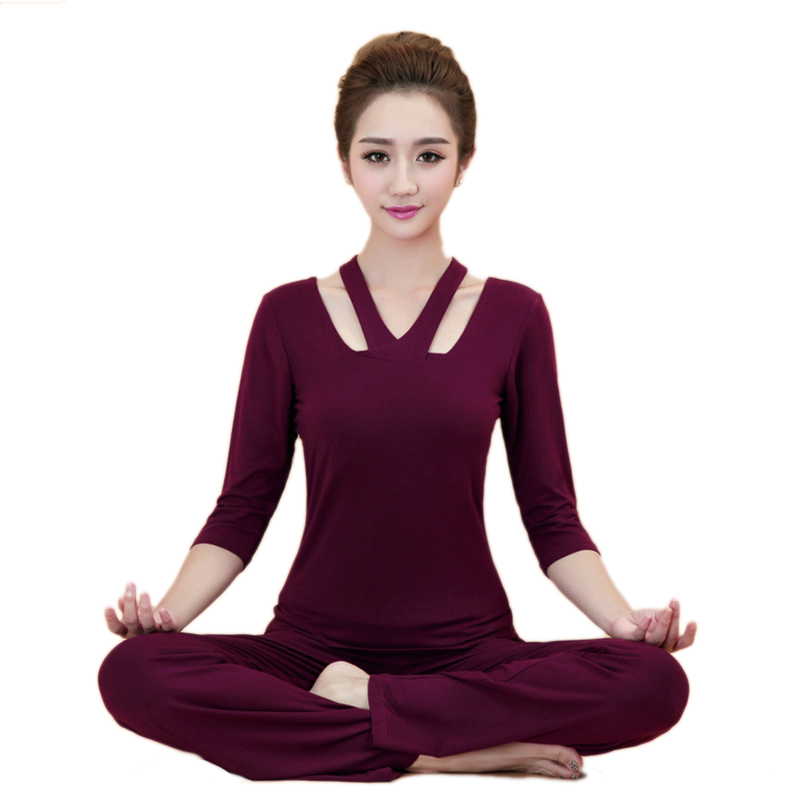 Women Fintess Yoga set Modal Shirts Pants Sport Set Gym Clothes Sport wear Training suit Performance