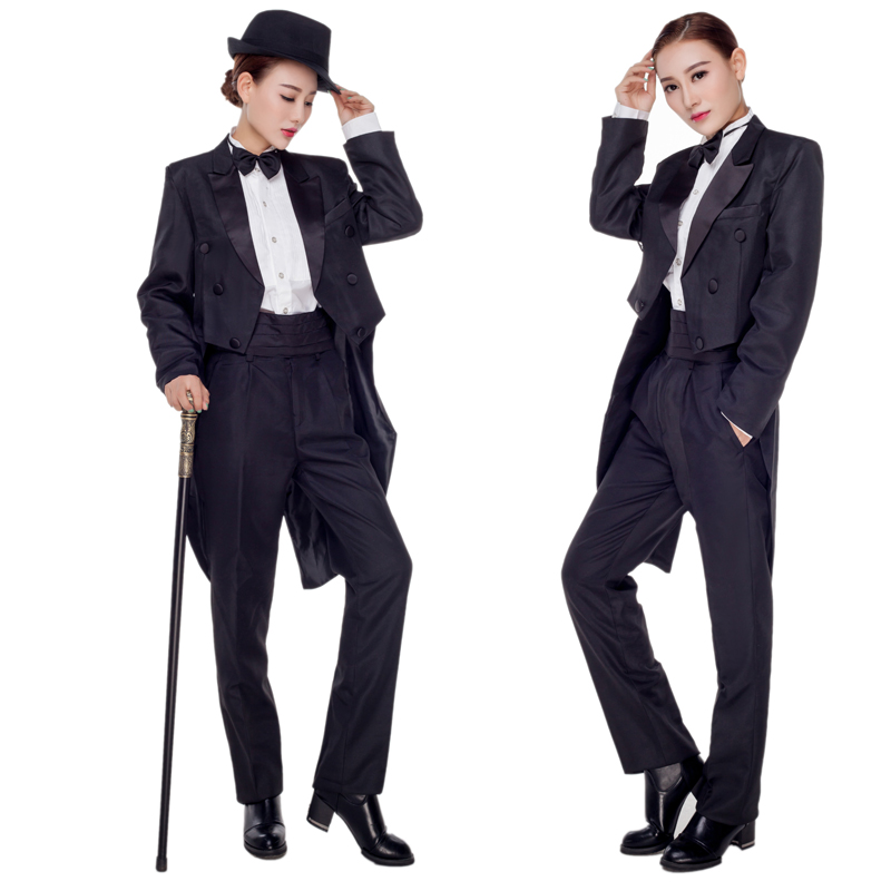 Hmong Clothes Rushed Polyester Women Dance Costumes 2016 New Lady Tailcoat Magic Tuxedo Suit Stage A Host Clothing Costume Set