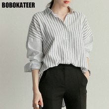 BOBOKATEER Striped Blouse Long Sleeve Shirt Women Tops Women Blouses Shirts Korean Fashion Clothing Blusas Mujer De Moda 2017