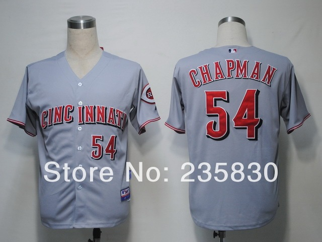 6106ffa048f Cheap MLB jersey Cincinnati reds jersey 54  Aroldis Chapman cool baseball  shirts size M-XXXL