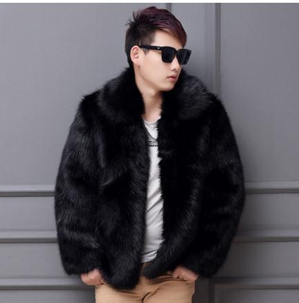Мужские зимние и осенние Повседневное теплые куртки черный/белый для отдыха большой Размеры мужской искусственный мех более пальто меховы...