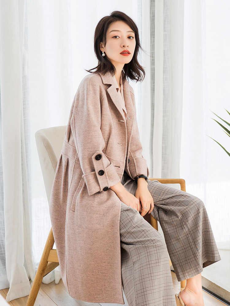 AYUNSUE 2019 корейское стильное пальто из чистой шерсти женские демисезонные куртки длинные шерстяные пальто зимние женские пальто 38017 YQ1624