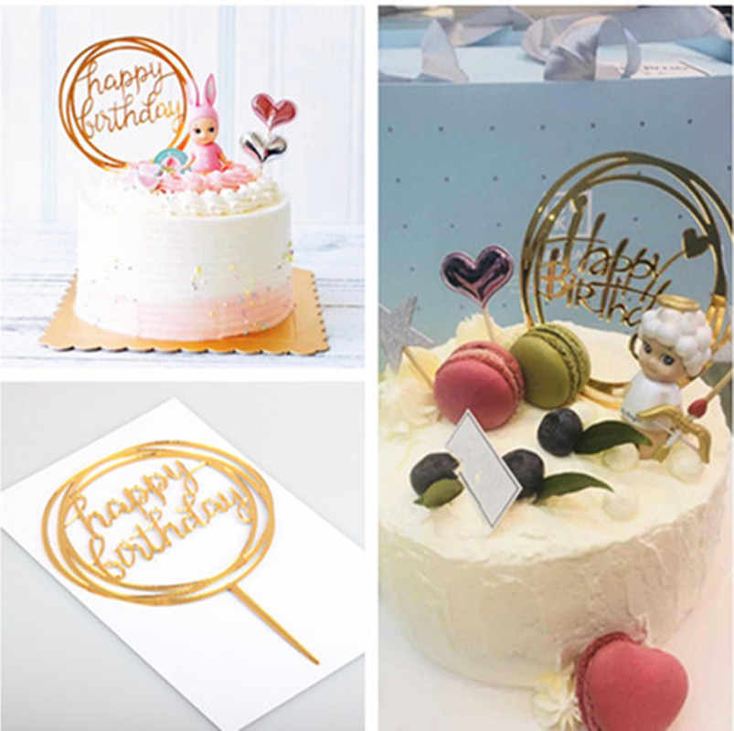 1pcs happy birthday love cake topper acrylic for Birthday cupcake flag baby shower party wedding decoration supplies Cake Topper