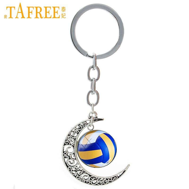 TAFREE Summer Beach Volleyball image alliage de verre lune pendentif porte-clés casual volleyball équipe de sport clé de la chaîne bijoux T255