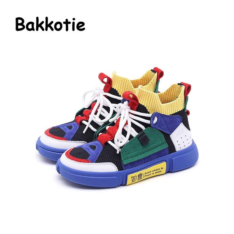 Bakkotie 2019 Spring Fashion New Kid Slip-On Sport Shoes Children Brand Casual Sneaker Baby Boy Soft Mesh Black Girl Trainer
