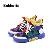 Bakkotie 2019 Spring Fashion New Kid Slip-On Sport Shoes Children Brand Casual Sneaker Baby Boy Soft Mesh Black Girl Trainer bakkotie 2018 spring new fashion baby girl patent leather bow red flat child rhinestone princess party shoe kid brand mary jane
