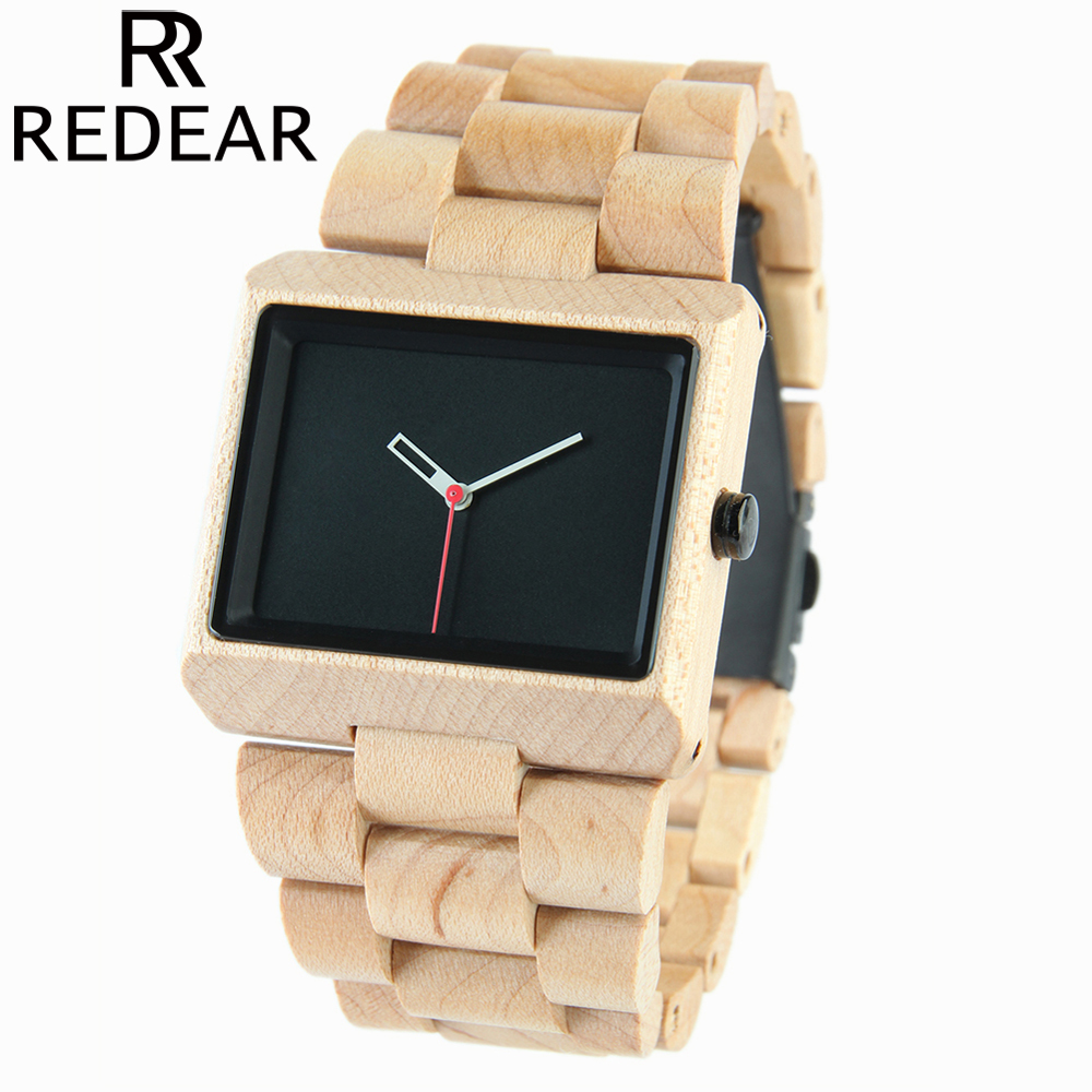REDEAR 2017 Hot Brand Luxury Wood Watch for Men Full Maple Wooden Watch Wristwatch Men's Watch Gift with Paper Box ultra luxury 2 3 5 modes german motor watch winder white color wooden black pu leater inside automatic watch winder