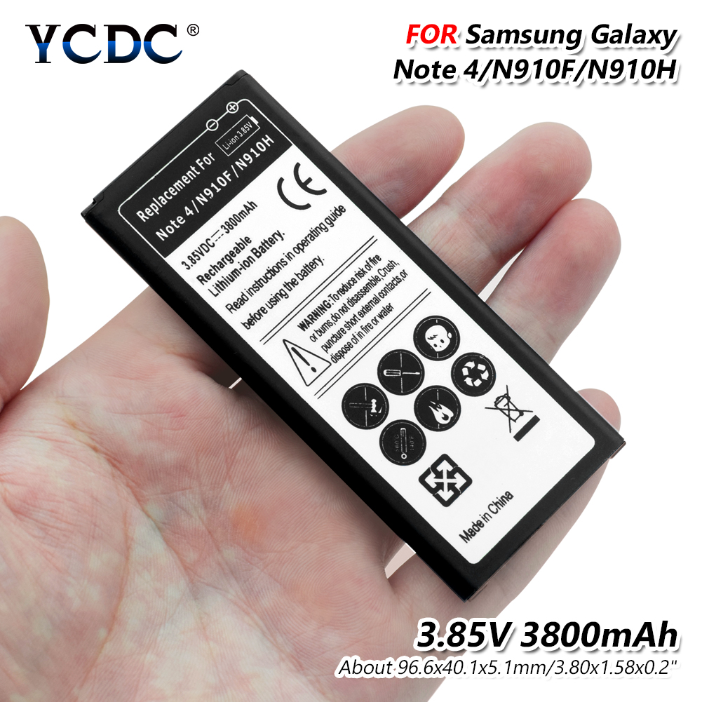 Hospitable Lithium Ycdc Battery For Samsung Galaxy Note4 N9100 N910a N910v N910c Note 4 N910u N910f N910h 3800mah Replacement Battery To Prevent And Cure Diseases Cellphones & Telecommunications Mobile Phone Batteries