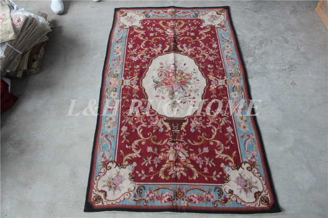Free Shipping 10k 3 X5 Small Carpets Rugs Needlepoint Woolen Red Fl Design