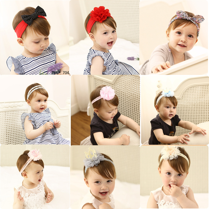 Korea High Quality Handmade Cotton Rabbit Flower Crown Hair Accessories Girls Headband Hair Band Hair Bows Hair Ties Turbante -3 10pcs lot high quality hair band with grosgrain ribbon flower for girls handmade flower hairbow hairband kids hair accessories