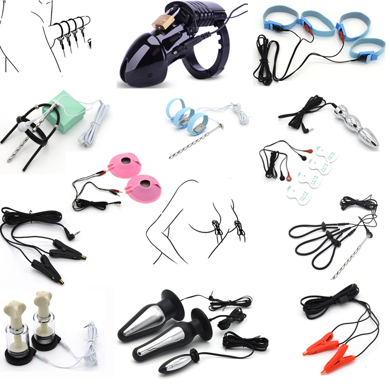 Electric Shock Pulse Anal Plug Electro Penis Plug Rings Glove Stimulation Breast Pads Massage Cock Cage Nipple Clamps Sex Toys