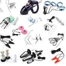 Elektrische Shock Pulse Anal Plug Electro Penis Plug Ringe Handschuh Stimulation Brust Pads Massage Cock Cage Nippel Klemmen Sex Spielzeug
