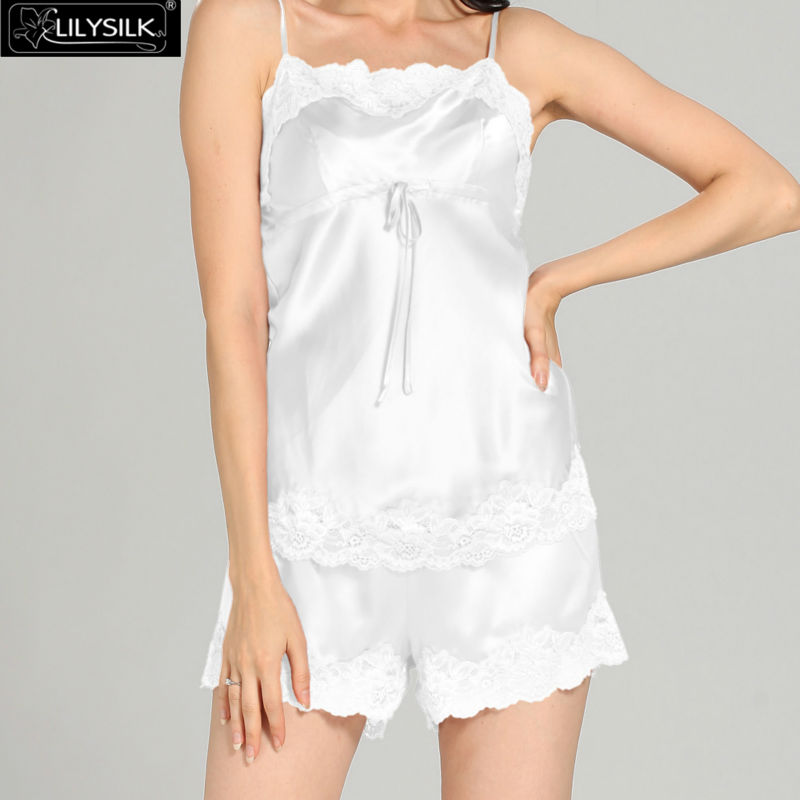1000-white-22-momme-short-lacey-silk-camisole--dressing-gown-set-01