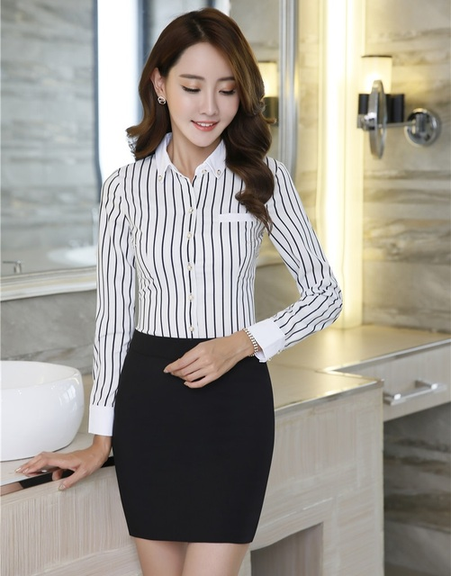 e956f0337 Formal de dos piezas Sets mujeres negocios Trajes con falda y blusa Sets blanco  rayas Camisas
