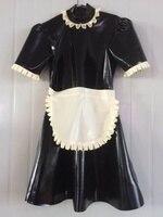 100%Latex Rubber Black and White Lace Maid Dress apron uniforms Size XS~XXL