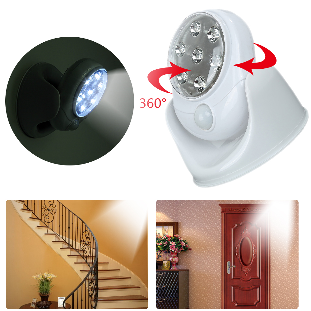6V 7 LED Motion Sensor Activated LED Wall Lights Night Light Auto On Off Battery 360
