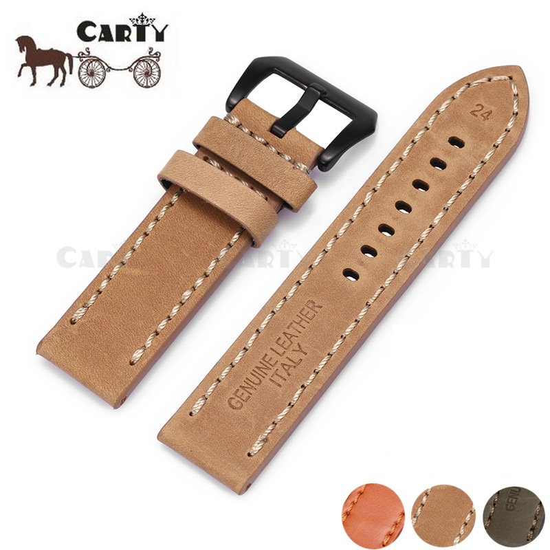 Genuine Leather/cowhide 22mm 24mm Thick Watch Strap Belt With Metal Steel Buckle Clasp Accessories For Panerai new arrival handmade blue cowhide leather watchband strap 16mm 18mm 20mm 22mm watch accessories rosegold buckle metal clasp
