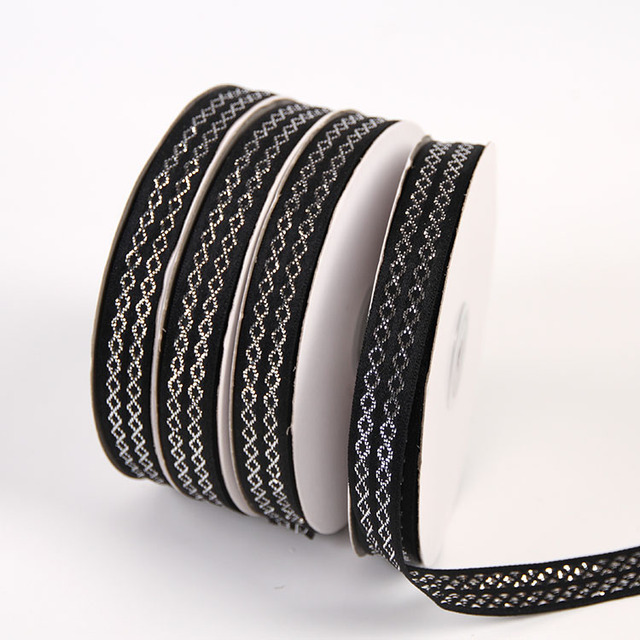 22d6836c014e2 US $12.99 |15mm 22meters Black Bottom Double Row Rhombic Silver Ribbon  Christmas Decorative DIY Shoes Hats Clothing Accessories-in Ribbons from  Home & ...