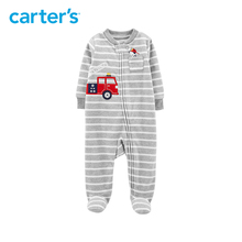 1pcs Cute little car with embroidered striped jumpsuits Carter's baby boy fall winter clothing 115G589