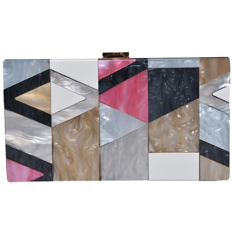 Summer unqique acrylic geometric lattice patchwork handbag small patry Clutch lady cute evening bag New 2017 Women messenger bag все цены