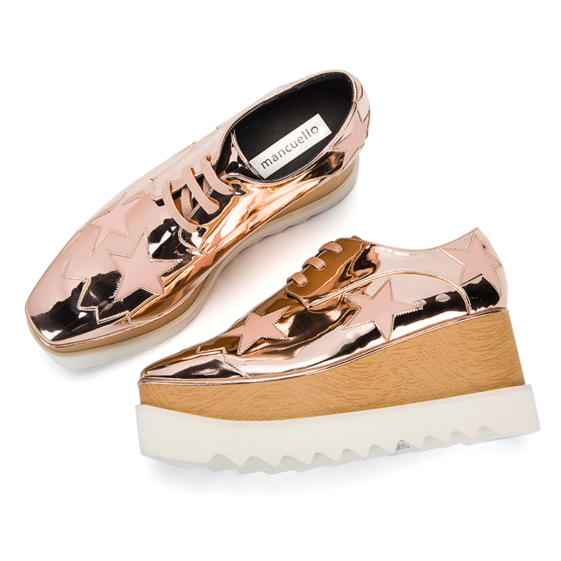 2017 New Stylish Spring Autumn Shoes Women Square Toe Lace Up Casual Shoes Stars Appliques Thich Sole Platform Shoes