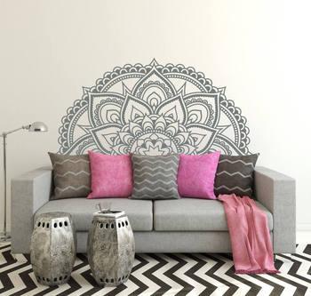 현대 디자인 절반 만다라 꽃 패턴 벽 스티커 침실 머리판 벽 데칼 boho 스타일 아트 벽화 거실 z923