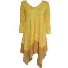 Patchwork Asymmetrical Dress Chiffon Loose V Neck Long Sleev