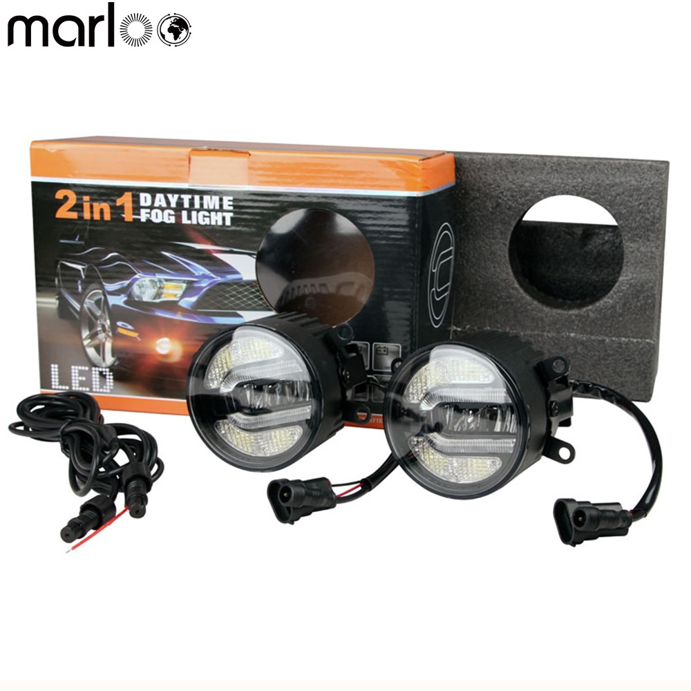 Marloo 2x E13 Emarked Car Led Fog Light Lamp DRL Driving Bulb For Land Rover Ford Nissan Mitsubishi Toyota Lexus Suzuki Dacia 2x 2 5 3 5 inch with cree led chips car fog light lamp drl driving bulb for ford nissan honda mitsubishi toyota lexus suzuki