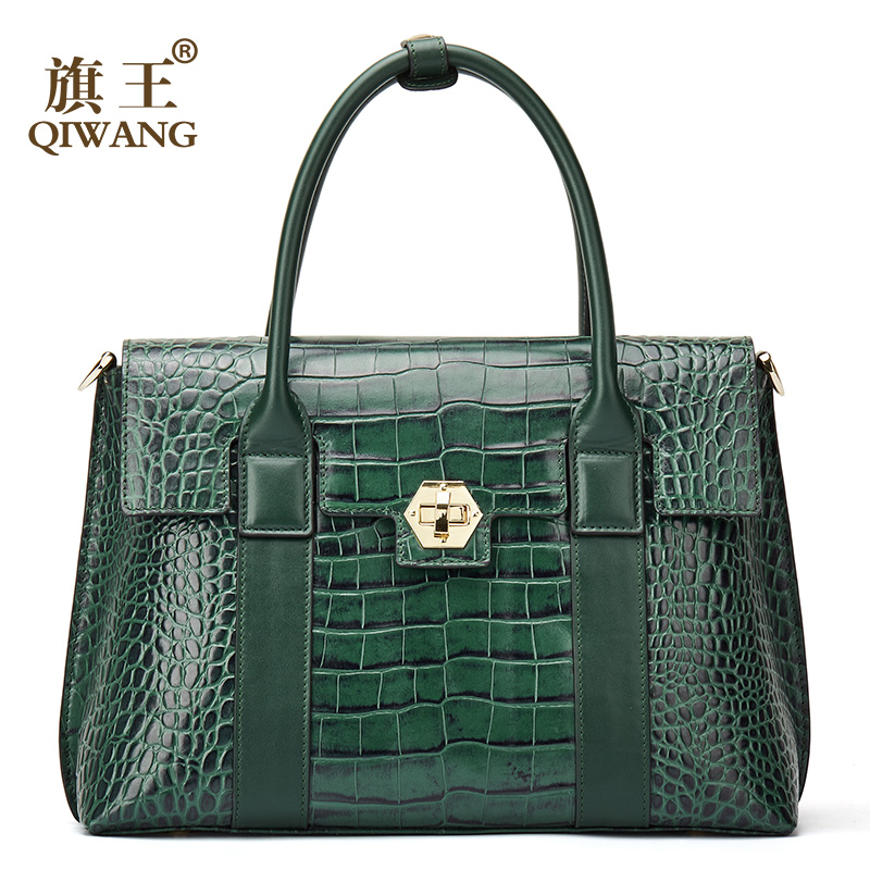 Qiwang 럭셔리 그린 핸드백 여성 대형 토트 백 고품질 정품 가죽 숄더 백 디자이너 패션 탑 핸들 가방-에서탑 핸드백부터 수화물 & 가방 의  그룹 1