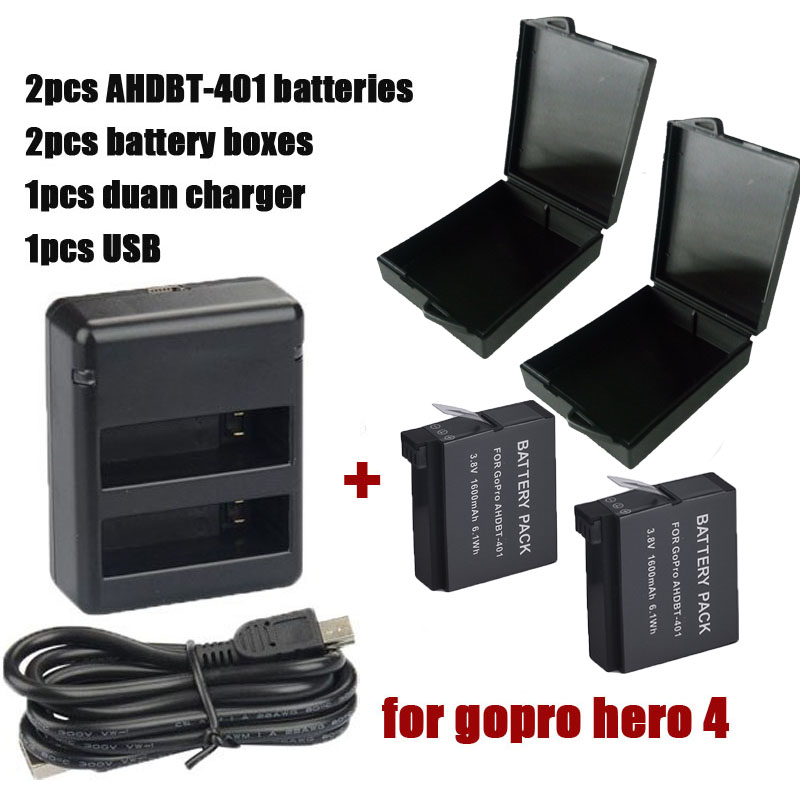 2 шт. 3.7 В 1600 мАч литий-ионный цифровые аккумулятор герой 4 Gopro Go Pro Hero4 батарея + двойной зарядное устройство USB + батарейный модуль для Gopro герой 4
