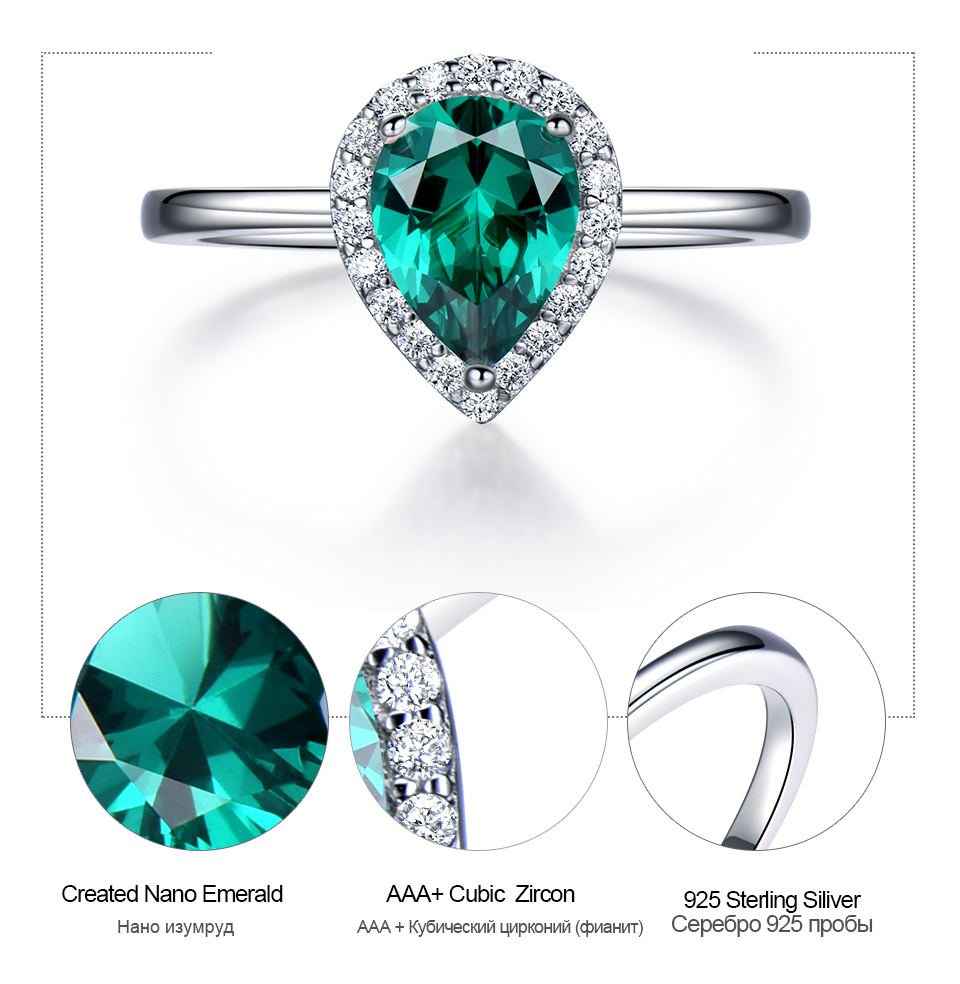UMCHO Emerald 925 sterling silver rings for women RUJ046E-1-pc (7)