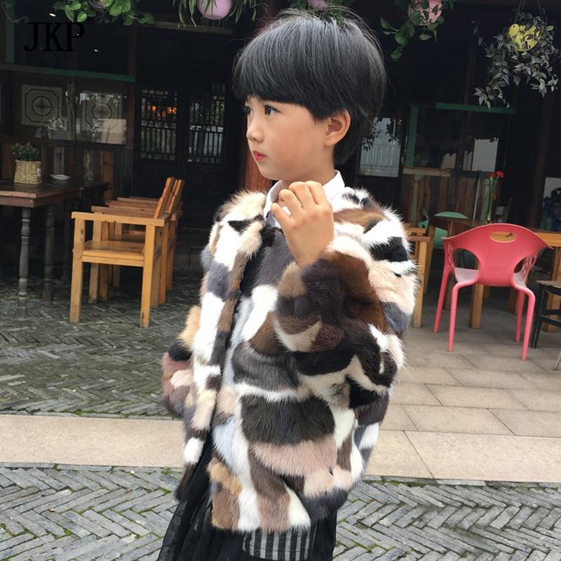 2017 de Inverno Crianças Casaco de pele de Vison Natural Colorido Mink Fur jacket Com O Bebê Das Meninas Dos Meninos das Crianças Roupas Casaco De Pele